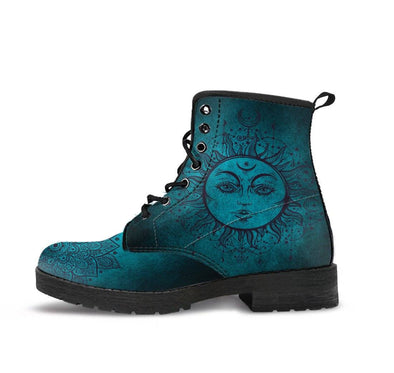 HandCrafted Teal Sun and Moon Boots.