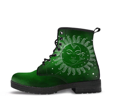 HandCrafted Sun and Moon Green Boots.