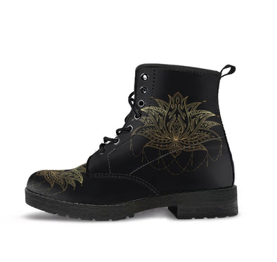 Handcrafted Black Gold Lotus Boots