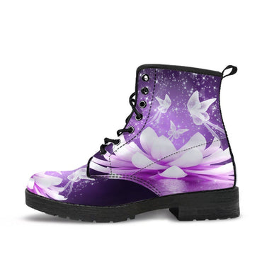 HandCrafted Purple White Lotus Butterfly Boots