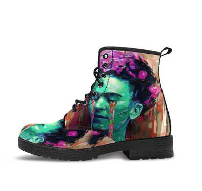 HandCrafted Frida Kahlo Green Boots