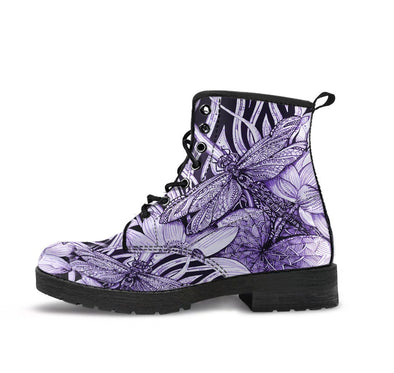 HandCrafted Purple Lotus Dragonfly Boots
