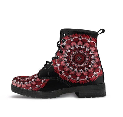 HandCrafted Red Fractal Mandala Boots.