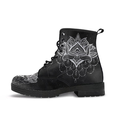 HandCrafted BW Lotus Mandala Boots.