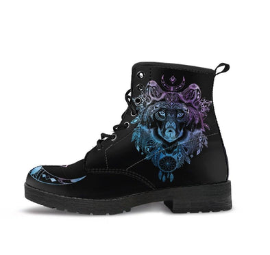 HandCrafted Blue Violet Wolf Head Boots