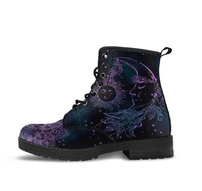 HandCrafted Purple Night Sun and Moon Boots