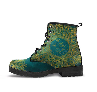 HandCrafted Teal Mandala Sun and Moon Boots.