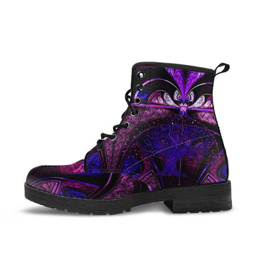 HandCrafted Purple Fractal Tree of Life Boots