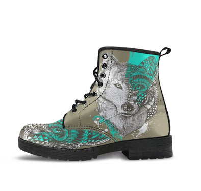 HandCrafted Wolf Head Zentangle Boots