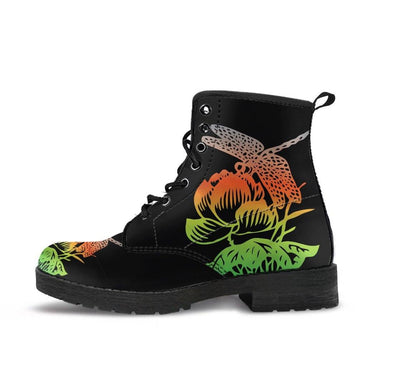 HandCrafted Red and Green Lotus Dragonfly Boots
