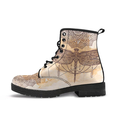 HandCrafted Beige Dragonfly Boots