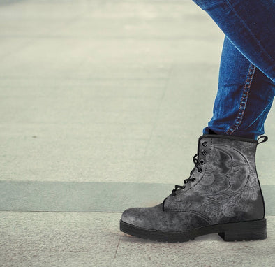 Handcrafted Grungy Sun and Moon Boots