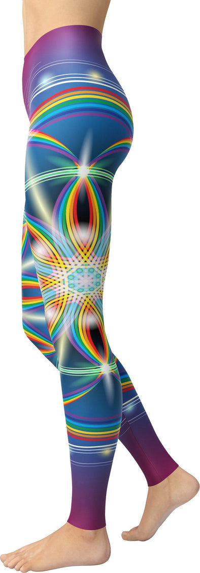 HandCrafted Rainbow Fractal Flower of Life Leggings