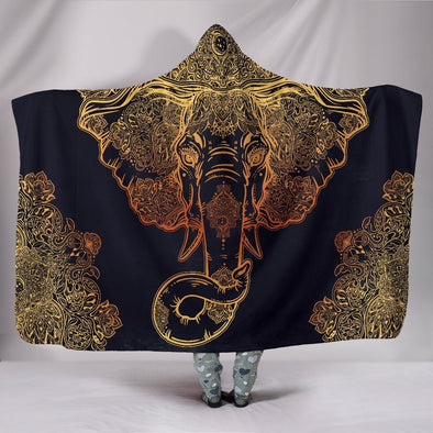 Gold Elephant Hooded Blanket