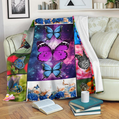 Colorful Galaxy Butterfly Blanket