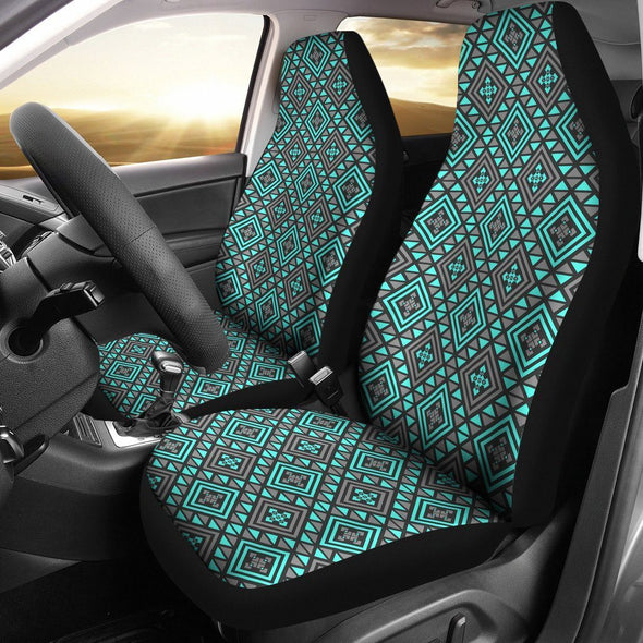 Boho Seamless Blue Pattern Car Seat Covers