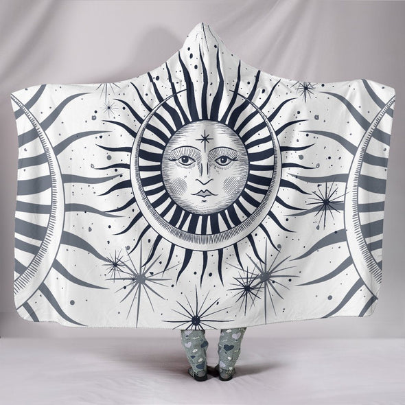Black White Sun and Moon Hooded Blanket