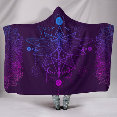 Purple Dragonfly Fractal Hooded Blanket