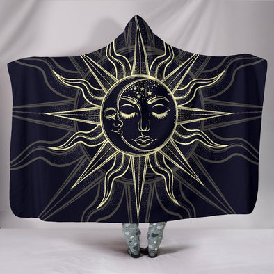 Bohemian Hand Drawn Sun and Moon Hooded Blanket