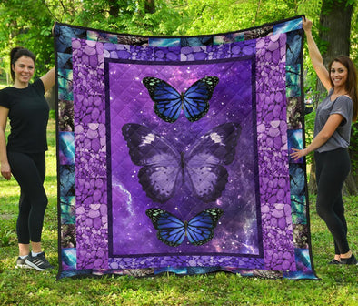 Purple Galaxy Butterfly Quilt