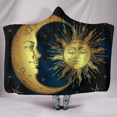 Vintage Sun and Moon Hooded Blanket