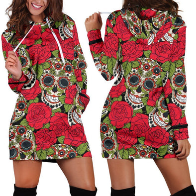 Red Roses Sugar Skull Hooded Dress