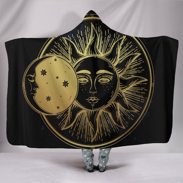 Black Sun and Moon Hooded Blanket