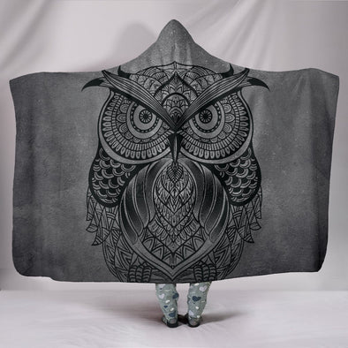 Grey Owl Mandala Hooded Blanket