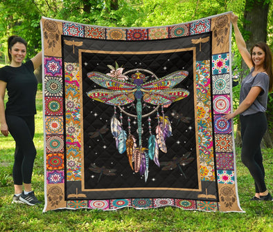 Colorful Dreamcatcher Dragonfly Quilt