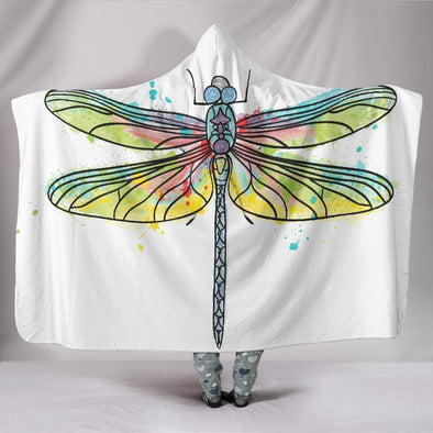 Dragonfly Watercolor Hooded Blanket