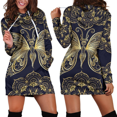 Gold Butterfly Hooded Dress