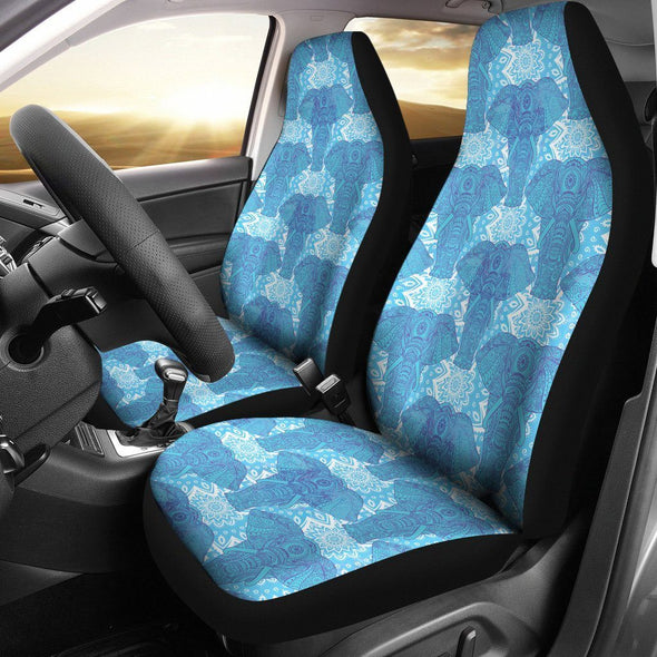 Blue Mandala Elephant Car Seat Covers
