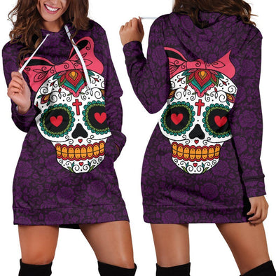 Purple Sugar Skull Hooded Dress