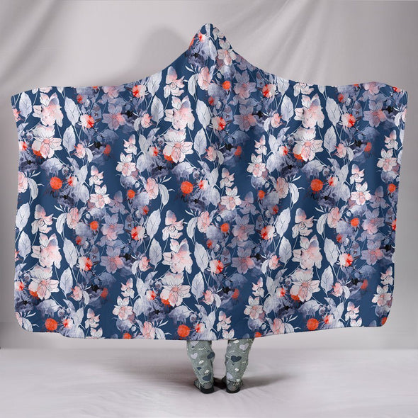 Ethnic Boho Vivid Flowers Hooded Blanket
