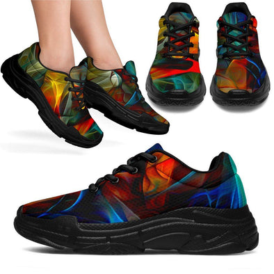 HandCrafted Glowing Fractal Art Chunky Sneakers