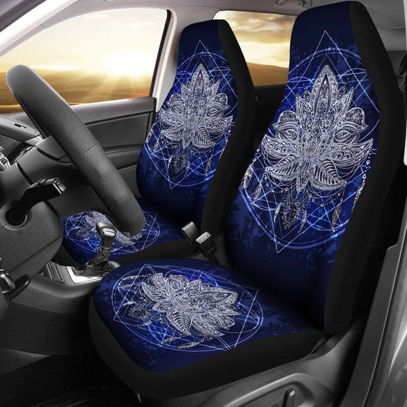 Blue Lotus Fractal Car Seat Covers