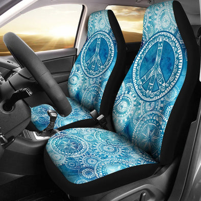 Blue Peace Mandala Car Seat Covers