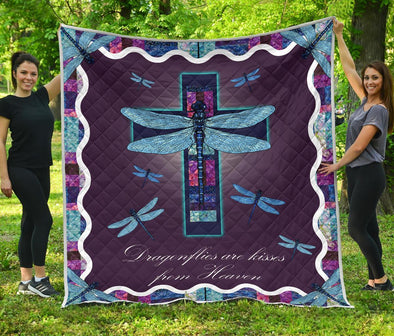 Colorful Cross Dragonflies Quilt