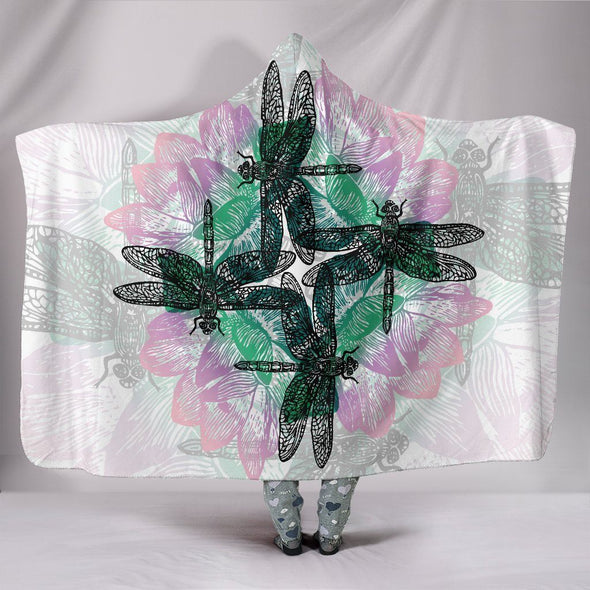 Bright Colored Lotus Dragonfly Hooded Blanket