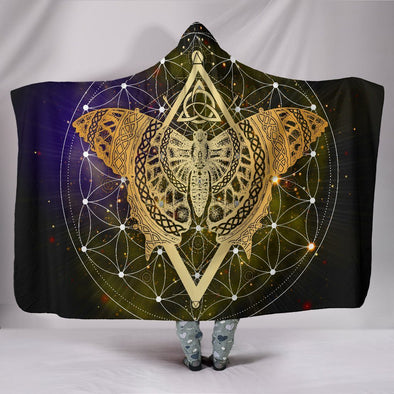 Gold Butterfly Mandala Hooded Blanket