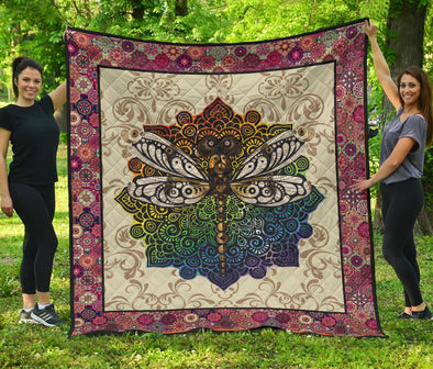 Colorful Dragonfly Mandala Quilt
