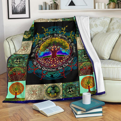 Artistic Tree of Life Mandala Blanket