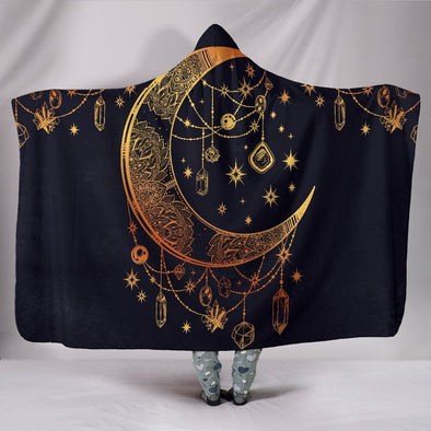 Gold Moon and Stars Hooded Blanket
