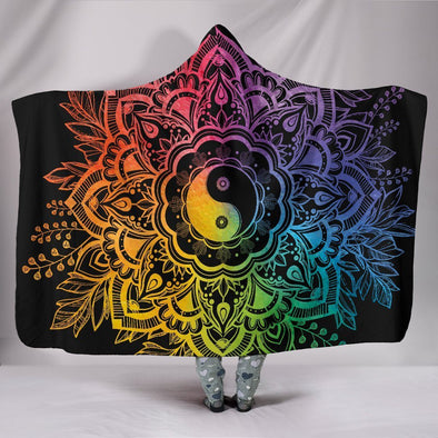 Rainbow YinYang Mandala Hooded Blanket