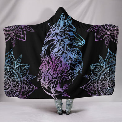 Colorful Wolf Mandala Hooded Blanket