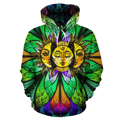 Colorful Sun Moon All Over Hoodie