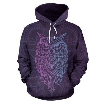 Purple Owl All Over Hoodie