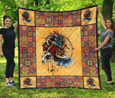 Artistic Feathered Lion Mandala Quilt