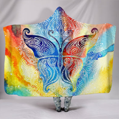 Colorful Butterfly Fractal Hooded Blanket