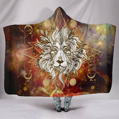 Gold Lion Mandala Hooded Blanket